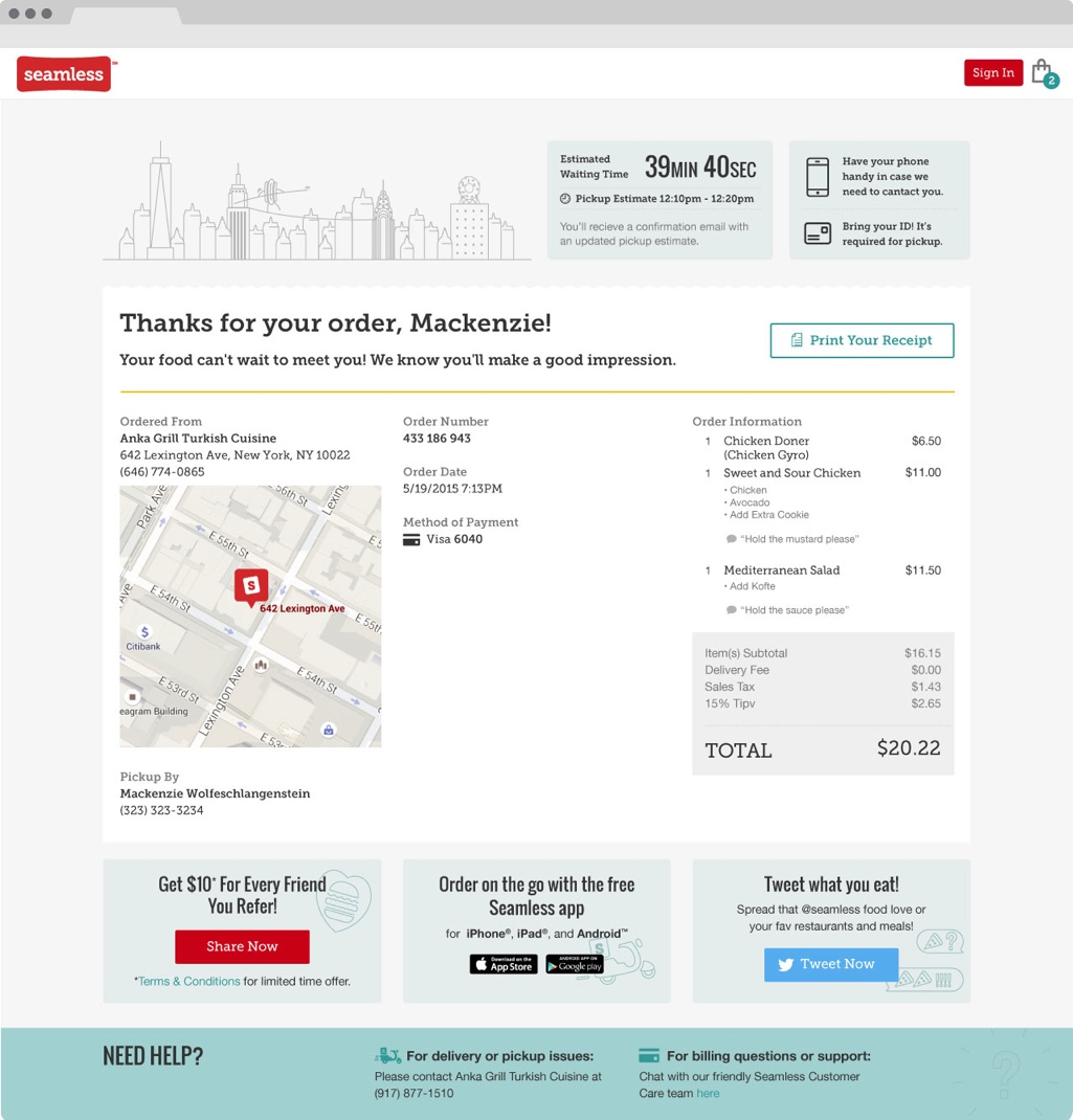Seamless.com Order Confirmation Page Design